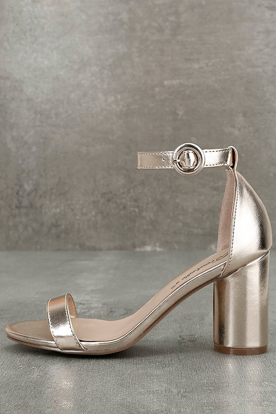 Elettra Champagne Ankle Strap Heels 1