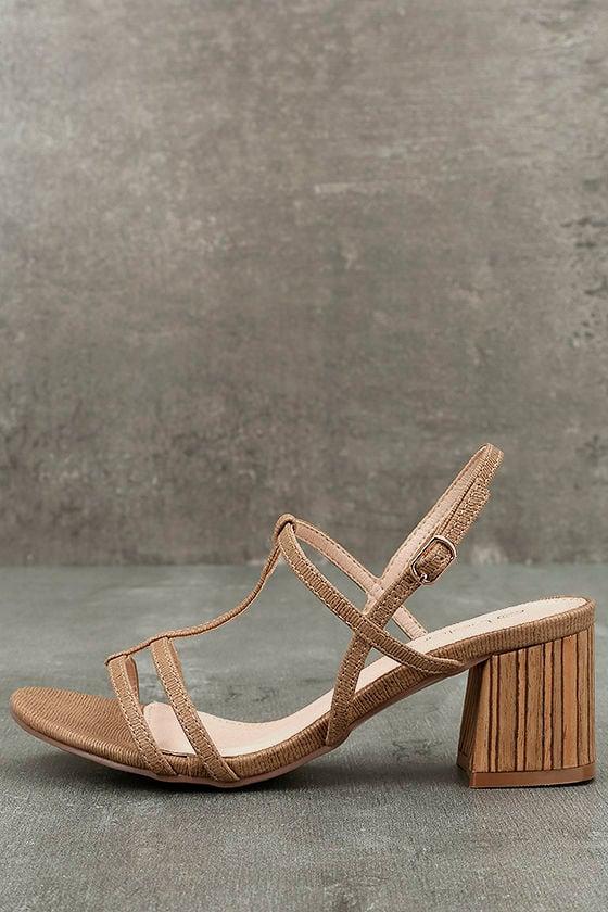 Carlita Beige High Heel Sandals 1