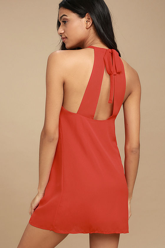 Cute Red Dress - Halter Dress - Shift Dress - Sleeveless Dress ...