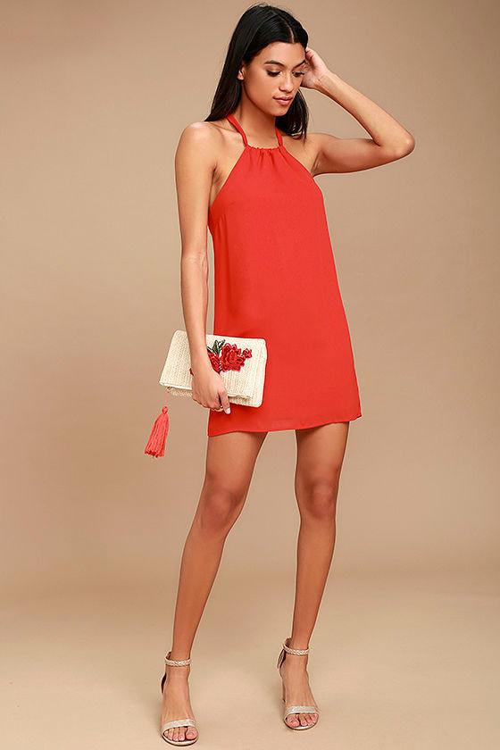 Cute Red Dress - Halter Dress - Shift Dress - Sleeveless Dress ...