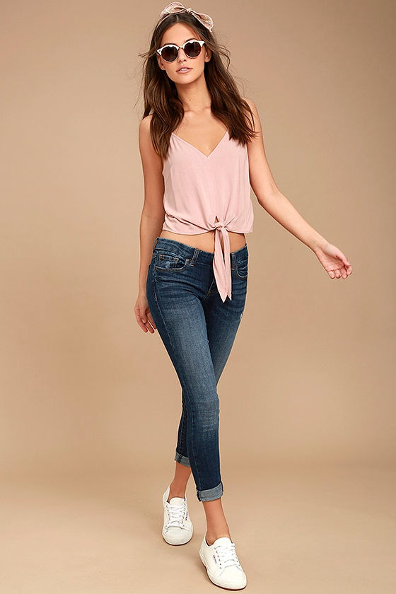 Greta Medium Wash Distressed Skinny Jeans 1