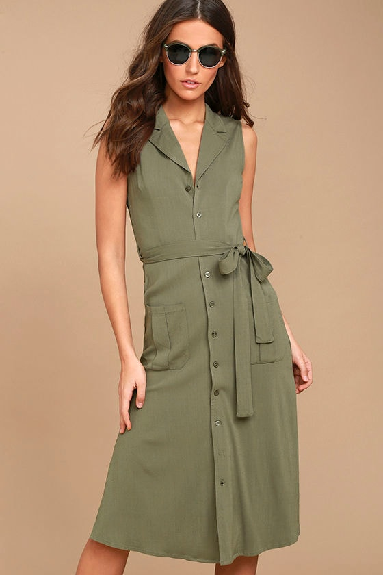 71dcc8d4bc17 Cute Washed Olive Green Dress - Shirt Dress - Sleeveless Dress - Midi Dress  -  64.00