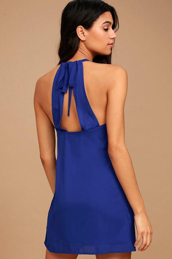 Cute Royal Blue Dress - Halter Dress - Shift Dress - Sleeveless ...