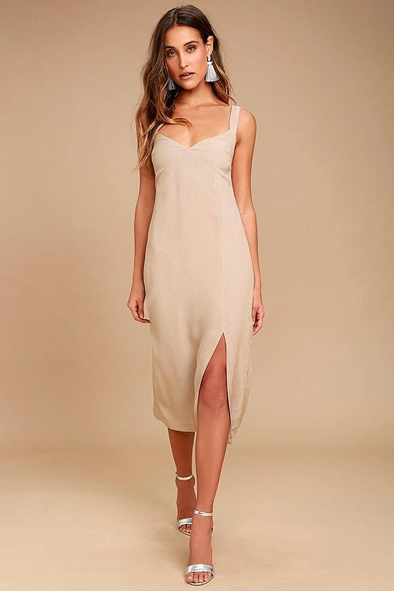 Kaliska Light Taupe Midi Dress 1