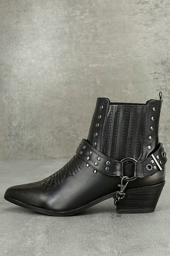 Stevie Black Harness Ankle Boots 1