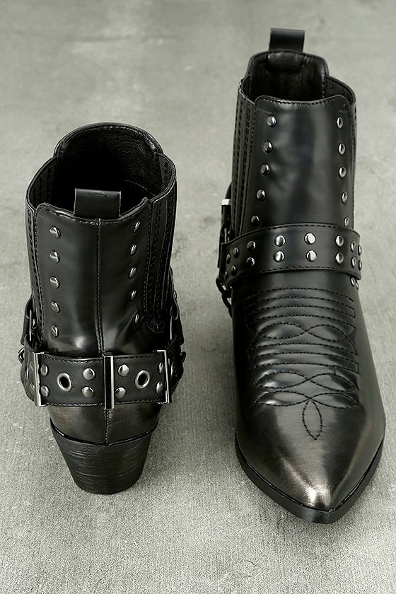 Stevie Black Harness Ankle Boots 2
