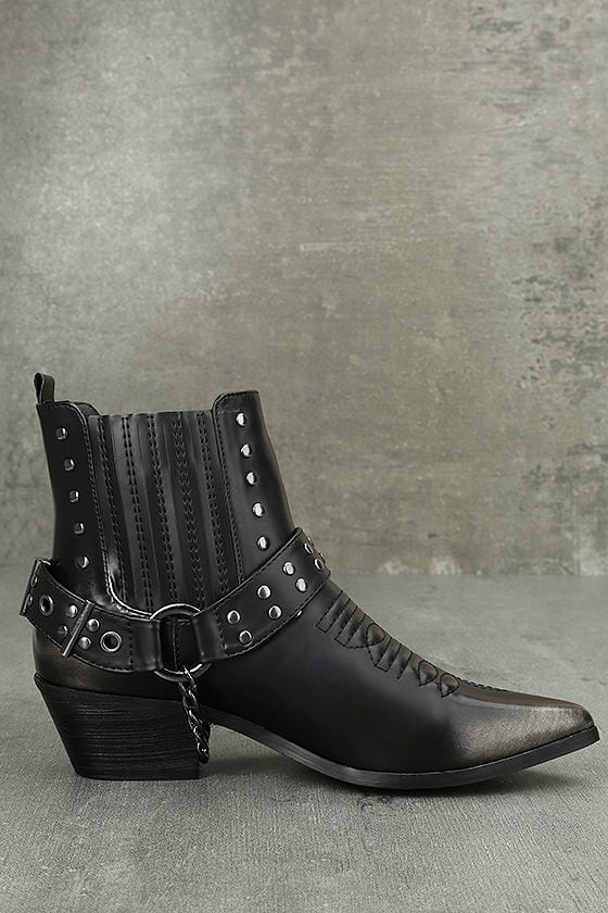 Stevie Black Harness Ankle Boots 3