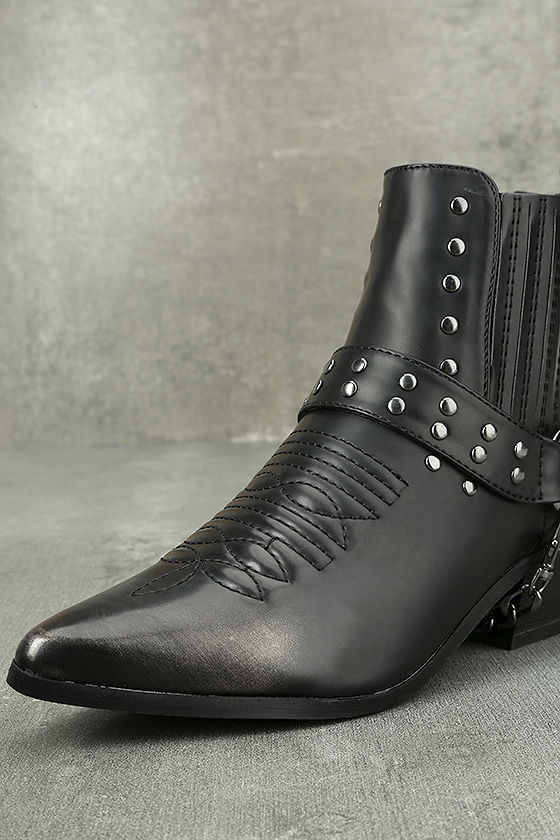 Stevie Black Harness Ankle Boots 5