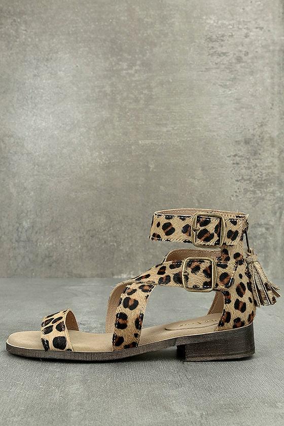 Diba True Dizzy Lizzy Leopard Pony Fur Sandals 1
