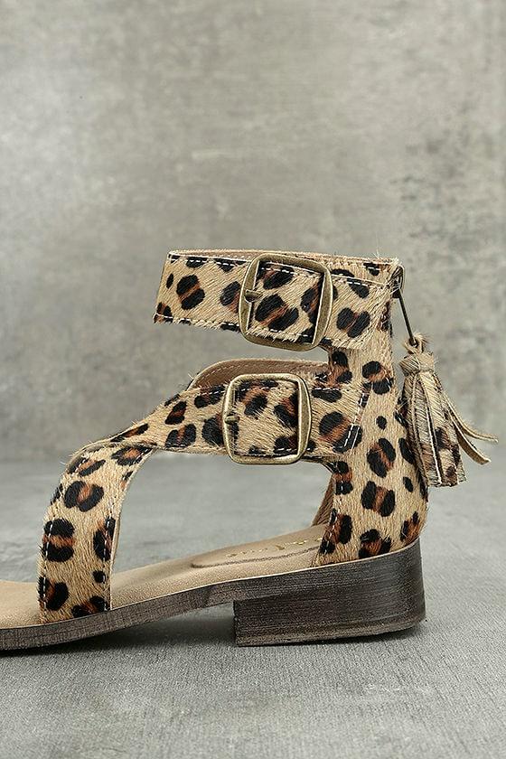Diba True Dizzy Lizzy Leopard Pony Fur Sandals Genuine