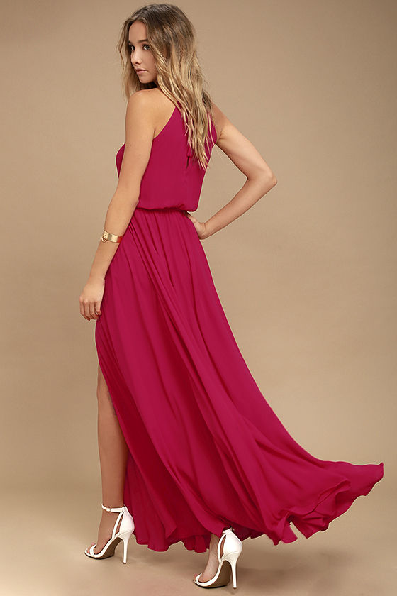 Essence of Style Berry Pink Maxi Dress 3
