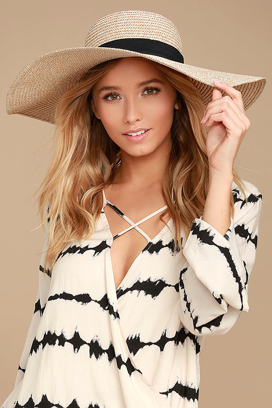 Cute Beige Hat - Floppy Hat - Straw Hat - Sun Hat - Flat Top Hat -  15.00 c553366fdf9