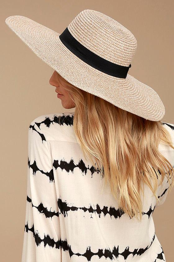 Cute Beige Hat - Floppy Hat - Straw Hat - Sun Hat - Flat Top Hat ... 235867ec7895