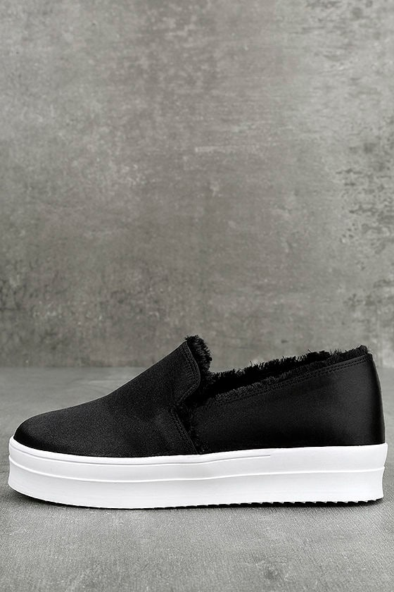 Magara Black Satin Flatform Slip-On Sneakers 1