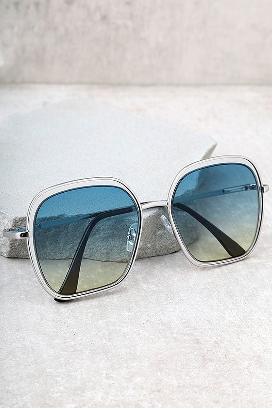 Clementine Silver and Blue Sunglasses 1