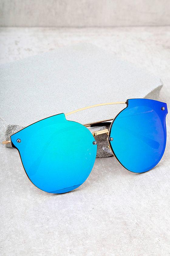 01621f125563 Unique Gold Sunglasses - Green Mirrored Sunglasses - Aviator ...