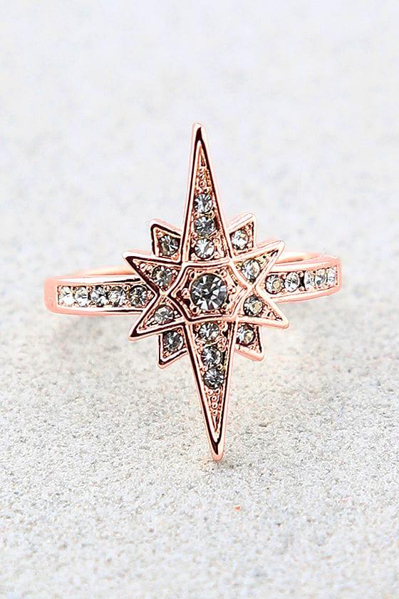 Shashi Cara Rose Gold Rhinestone Ring 1