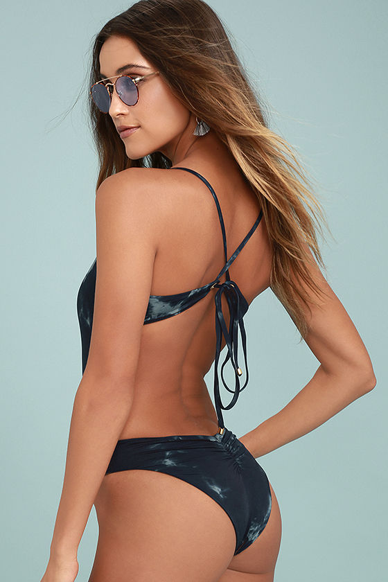 Blue Life Whirlpool Navy Blue Tie-Dye Lace-Up One Piece Swimsuit 3