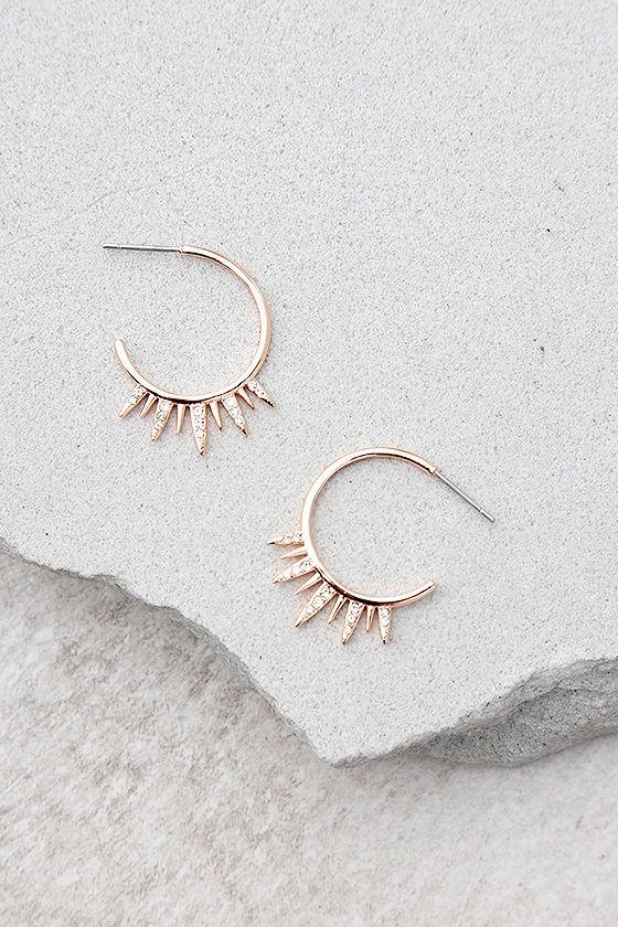 Shashi Lola Rose Gold Rhinestone Hoop Earrings 1