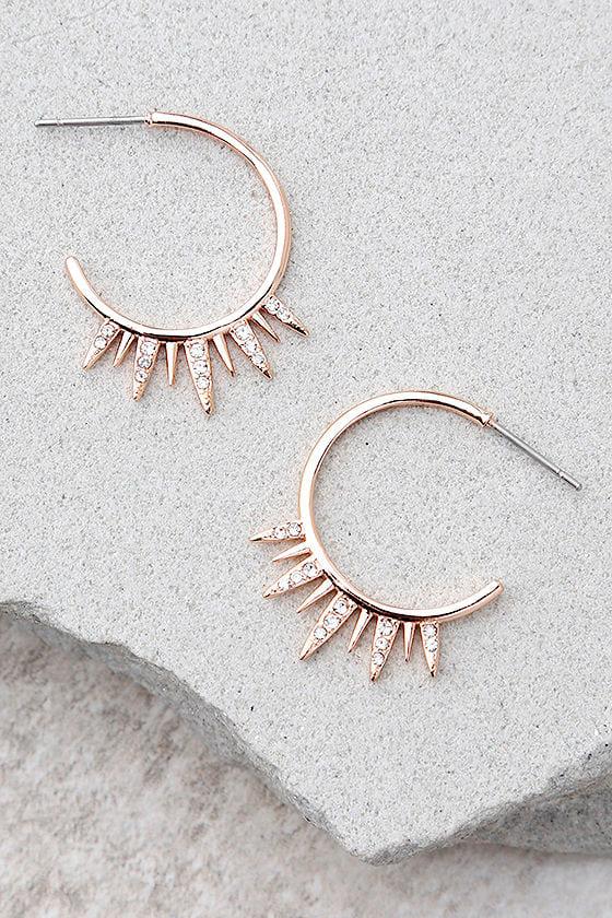 Shashi Lola Rose Gold Rhinestone Hoop Earrings 2