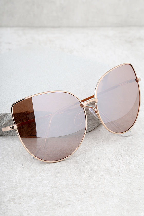 d3cc15c049180 Trendy Rose Gold Sunglasses - Pink Mirrored Sunglasses - Oversized ...