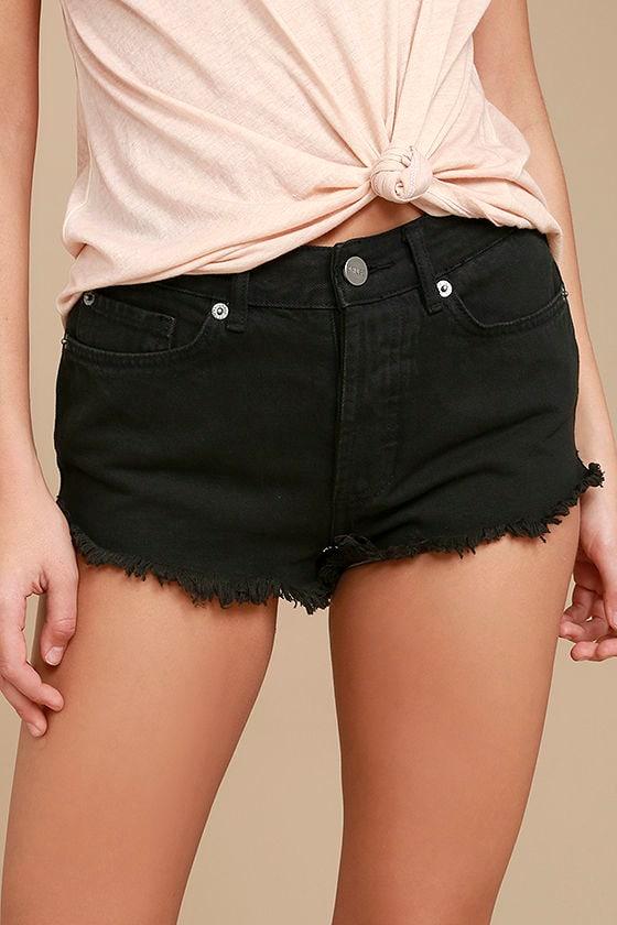 Amuse Society Easton Washed Black Distressed Denim Shorts 1