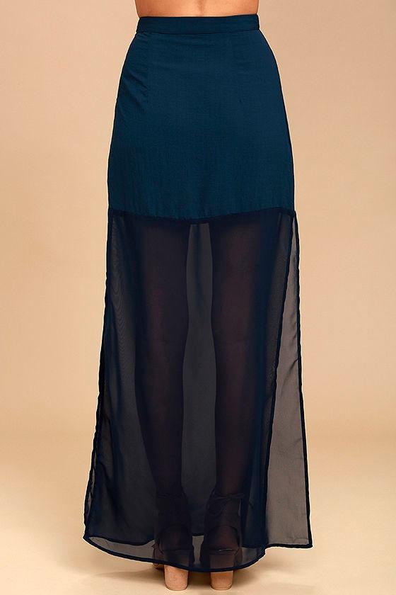 lovely navy blue skirt blue chiffon maxi skirt side