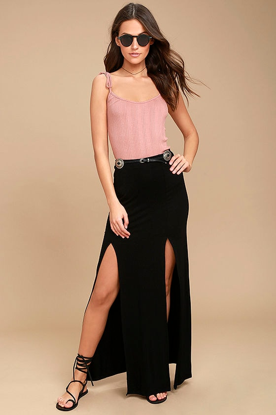 Come on Over Black Maxi Skirt 1