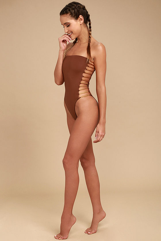 Blue Life Bamboo Rust Red Strapless One Piece Swimsuit 2