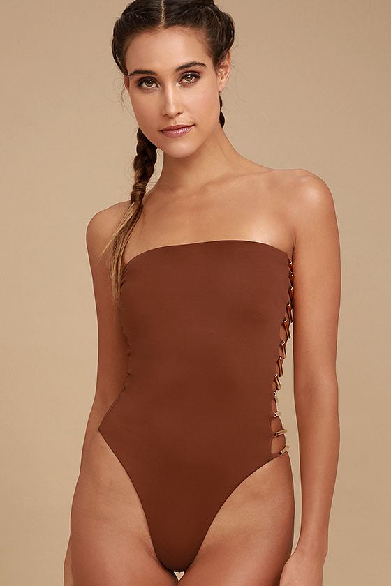 Blue Life Bamboo Rust Red Strapless One Piece Swimsuit 3