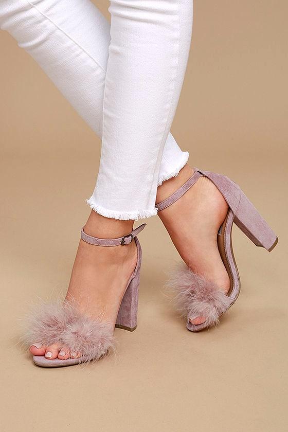 15ab2034179 Steve Madden Carabu - Rose Suede Leather Heels - Ankle Strap Heels ...