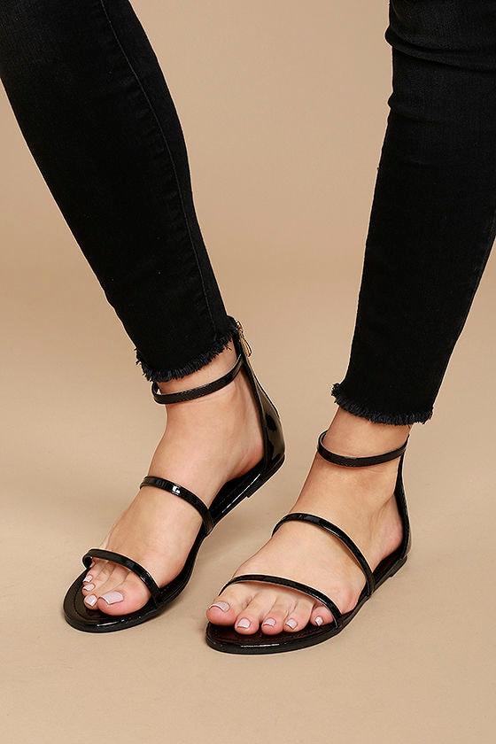 Lorelei Black Patent Ankle Strap Flat Sandals 2