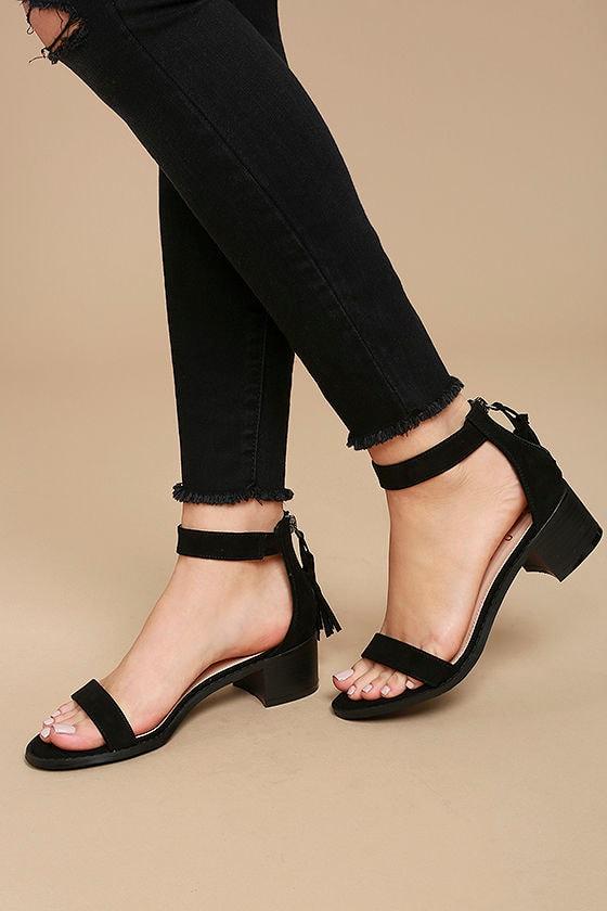 Emma Black Suede Ankle Strap Heels 2