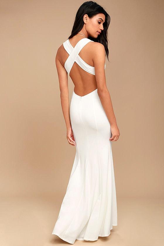 Elegant White Dress - Maxi Dress - Open Back Maxi Dress - $74.00