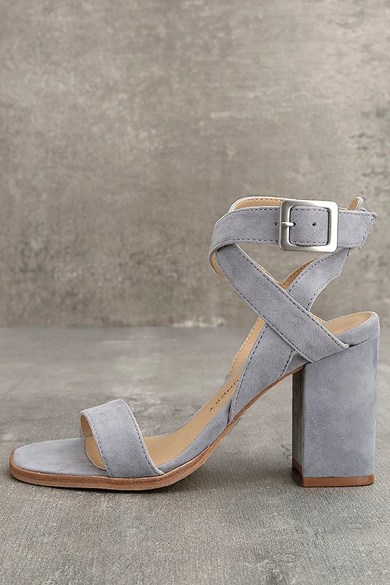 Chinese Laundry Sitara Chambray Suede Leather High Heel Sandals 1