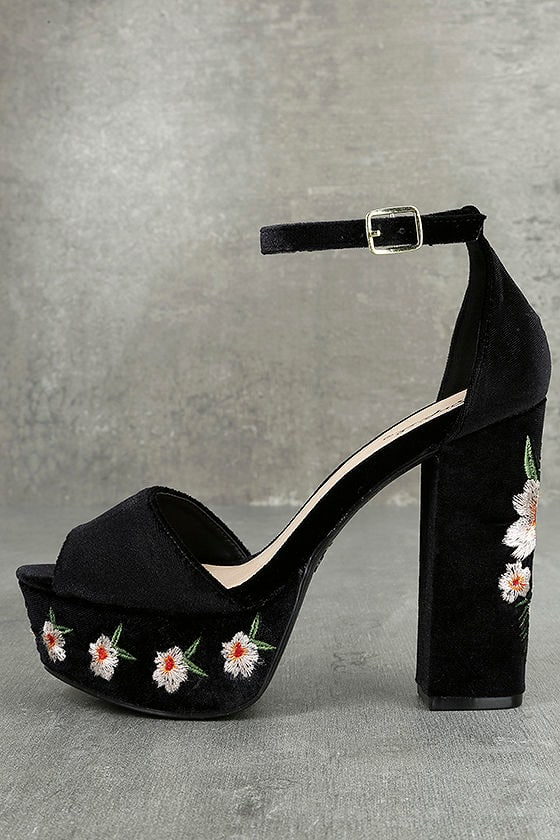 Abella Black Velvet Embroidered Platform Heels 1