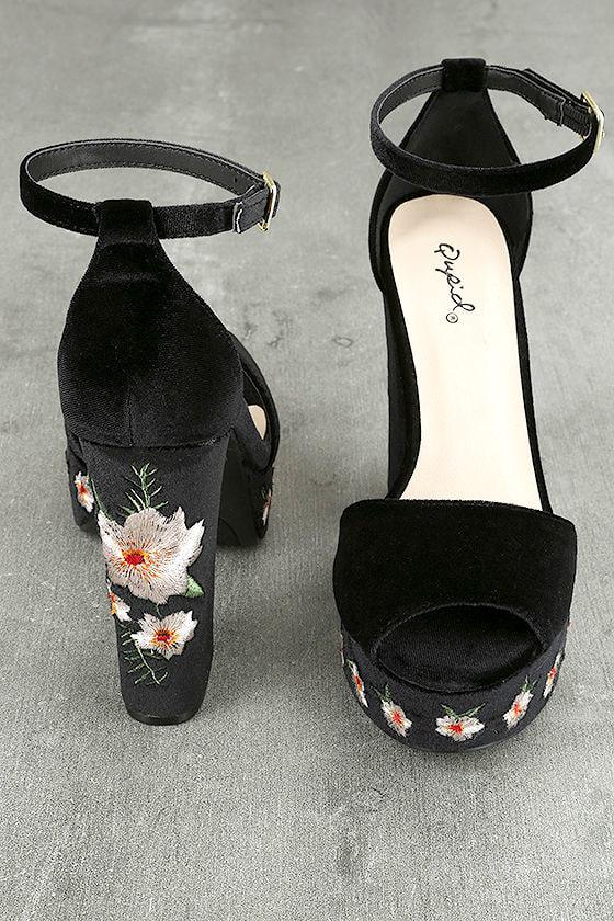 Abella Black Velvet Embroidered Platform Heels 3