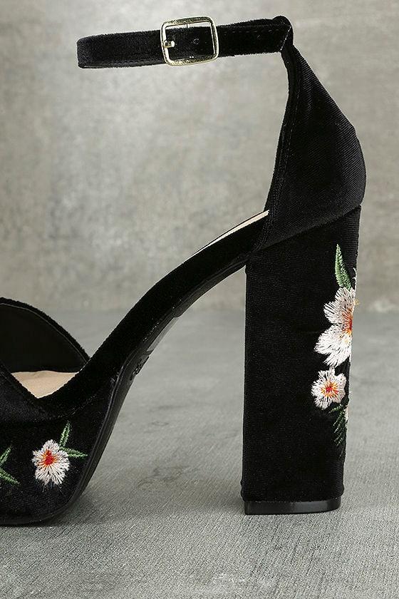 Abella Black Velvet Embroidered Platform Heels 7