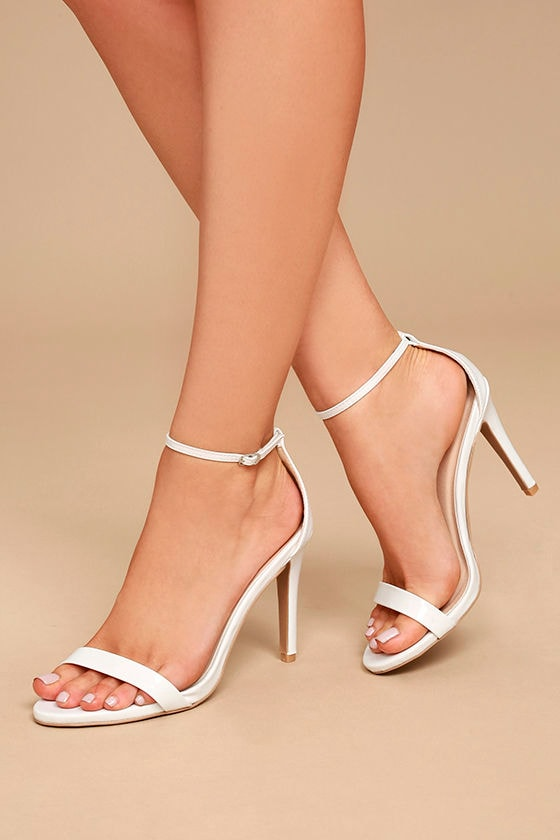 All-Star Cast White Patent Ankle Strap Heels 2