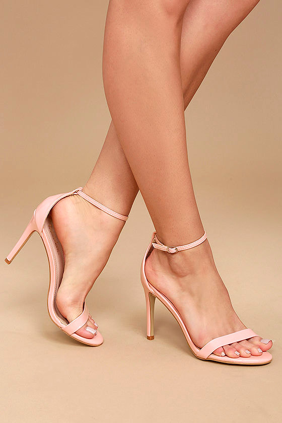 Sexy Pink Heels - Pink Single Sole Heels - Ankle Strap Heels - $24.00