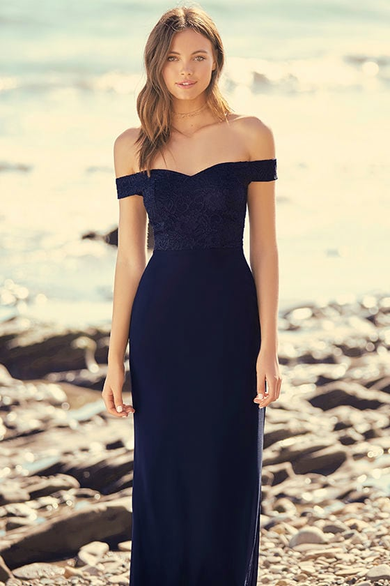 bb0a6341f7c0 Lovely Navy Blue Maxi - Lace Maxi Dress - Off-the-Shoulder Maxi Dress