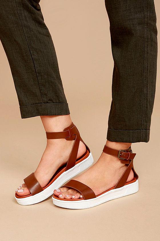 3a50885dd8c Mia Ellen - Cognac Sandals - Flatform Sandals - Vegan Leather ...