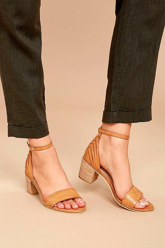 Sbicca Fars Tan Ankle Strap Heels 2