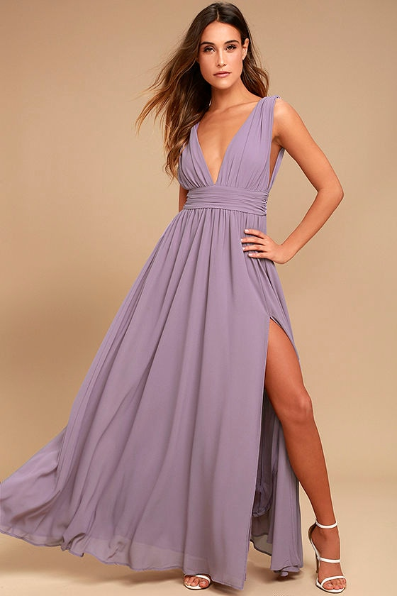 Dusty purple gown maxi dress sleeveless maxi dress for Purple maxi dresses for weddings