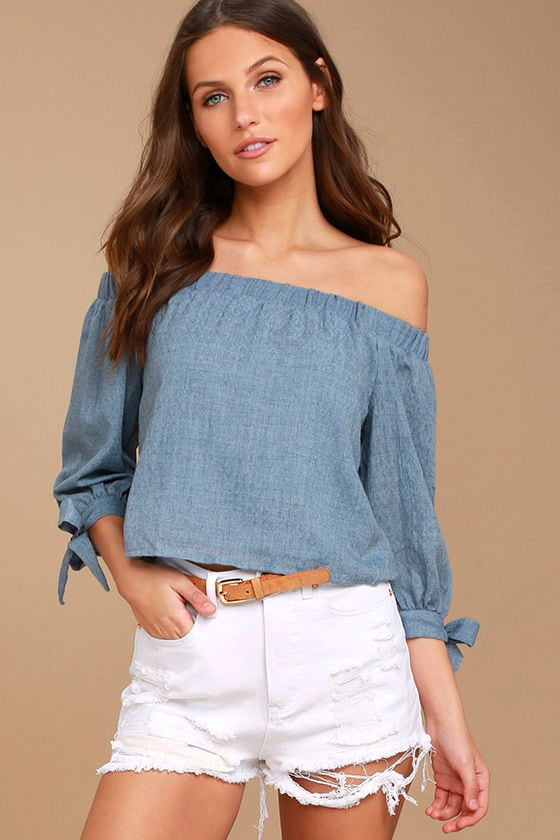 09baa0e0971e0f Cute Denim Blue Top - Off-the-Shoulder Top - Long Sleeve Top -  38.00