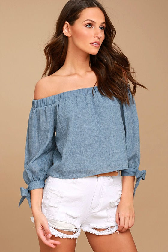 058d6b9b95d8 Cute Denim Blue Top - Off-the-Shoulder Top - Long Sleeve Top -  38.00