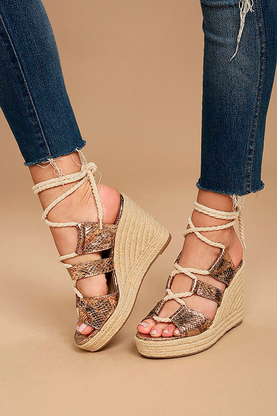 Glamorous Zelda Rose Gold Snake Lace-Up Espadrille Wedges 1