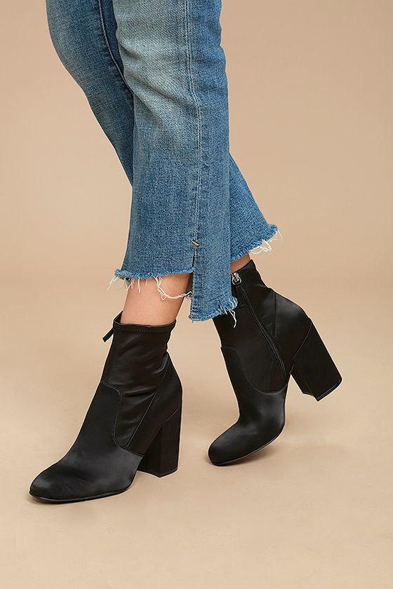 140942c4cac Steve Madden Gaze Black - Satin Mid-Calf Booties - Satin Sock Boots - Black  Sock Boots -  99.00