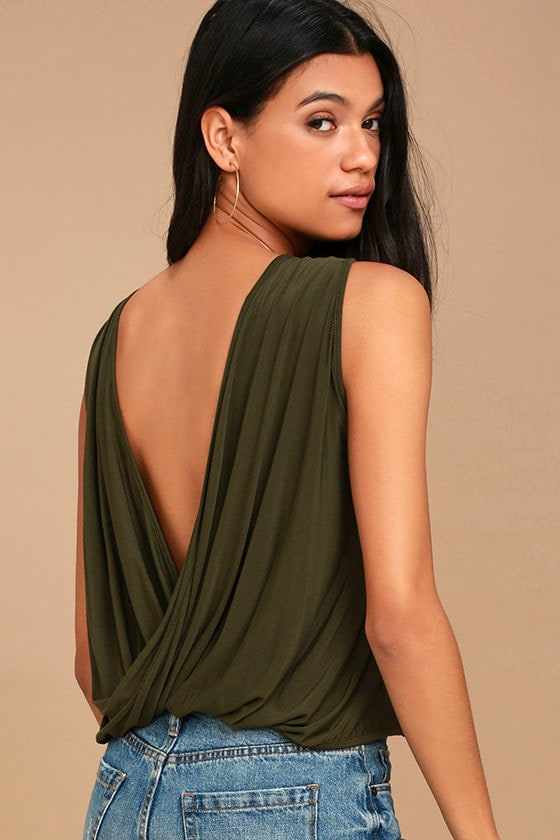 Tango Twist Olive Green Sleeveless Top 1