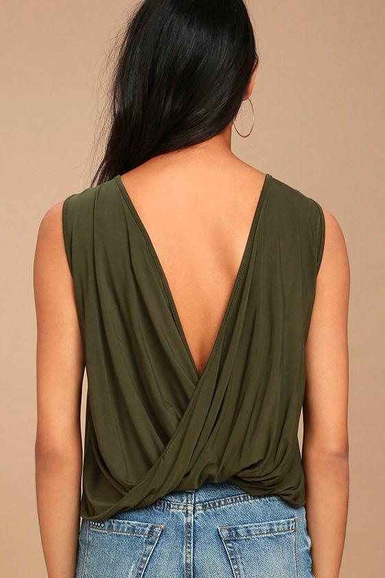 Tango Twist Olive Green Sleeveless Top 3